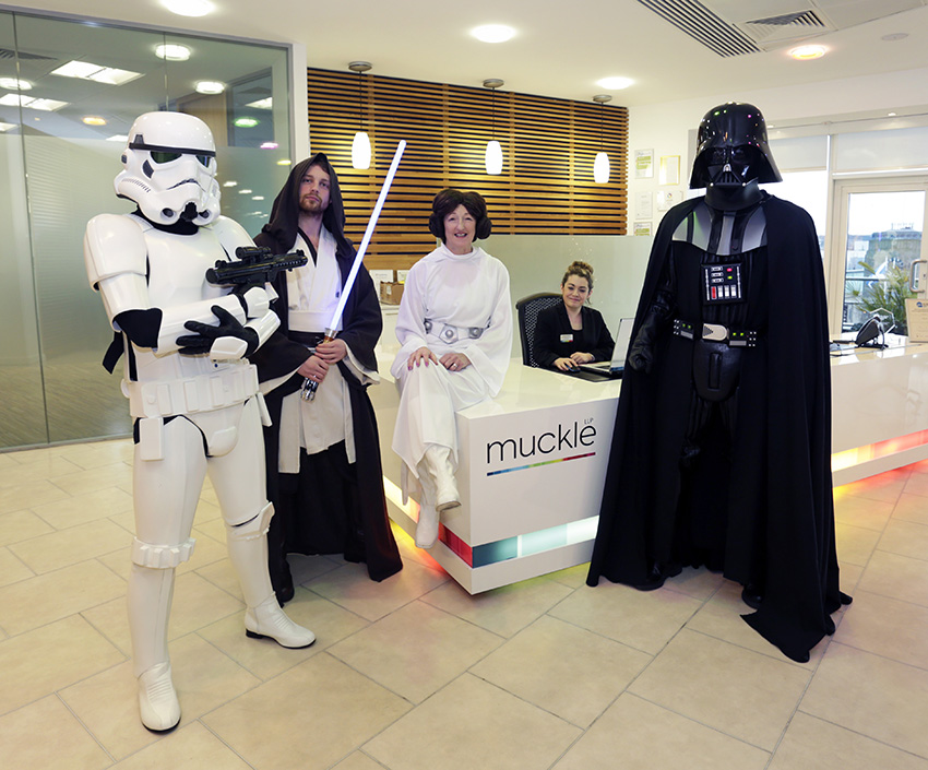 Stormtrooper, Jedi, Princess Leia and Darth Vader in Muckle Business Lounge