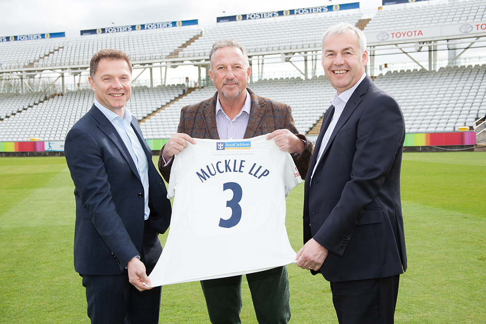 From left to right - Steve McNicol, Sir Ian Botham, David Harker
