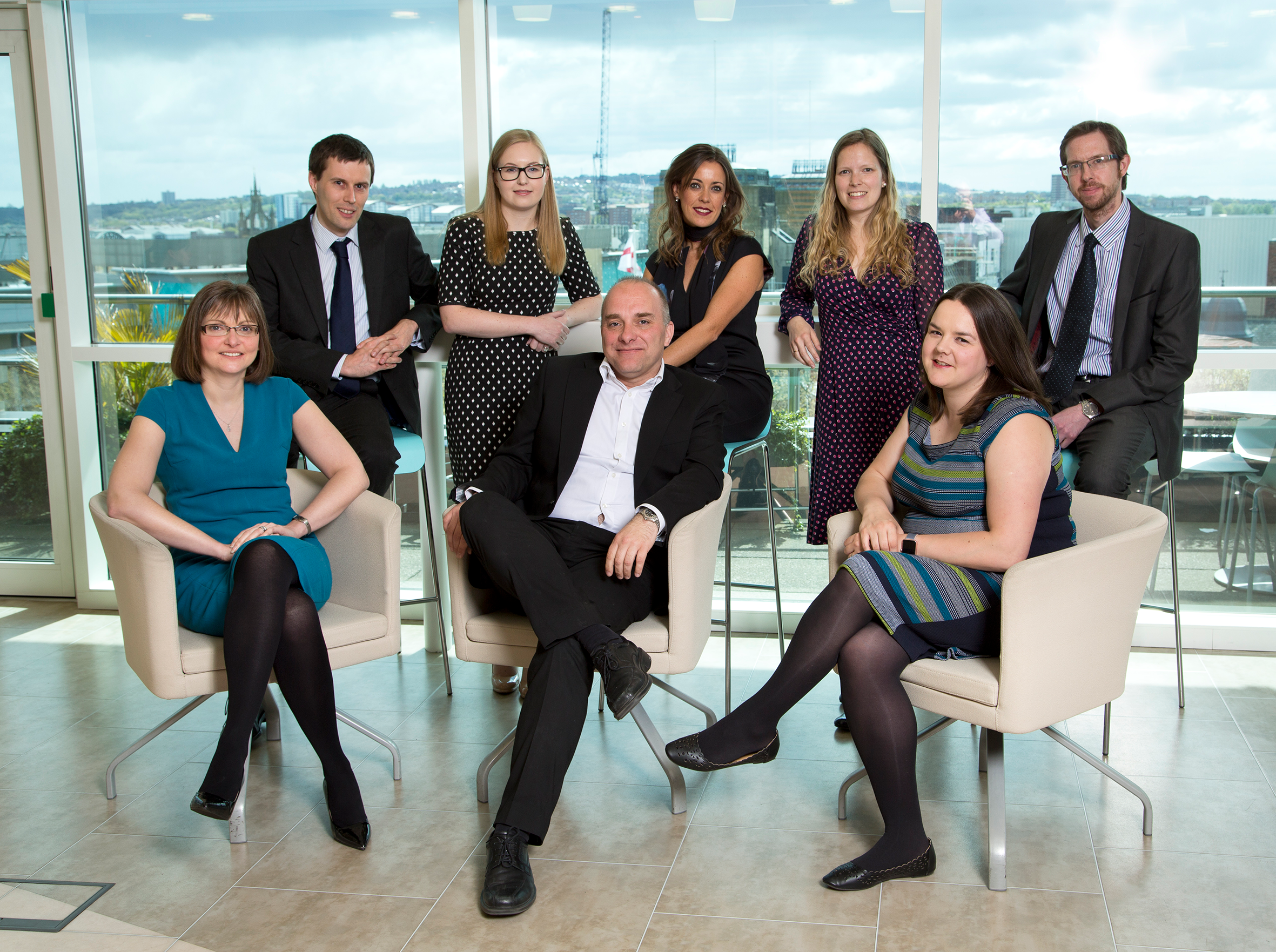 From Left to Right - Joanne Davison, Richard Nixon, Lisa Kelly, Jason Wainwright, Jess Swindells, Stephanie Coulson, Julie Adams and James Armstrong