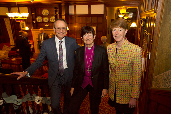 Hugh Welch, Senior Partner Muckle LLP, the Rt Revd Christine Hardman, The Bishop of Newcastle and Post Office Chief Executive, Paula Vennells the guest speaker at the Faith and Work Supper hosted by Muckle LLP at Shepherds Dene, Riding Mill, Northumberland.