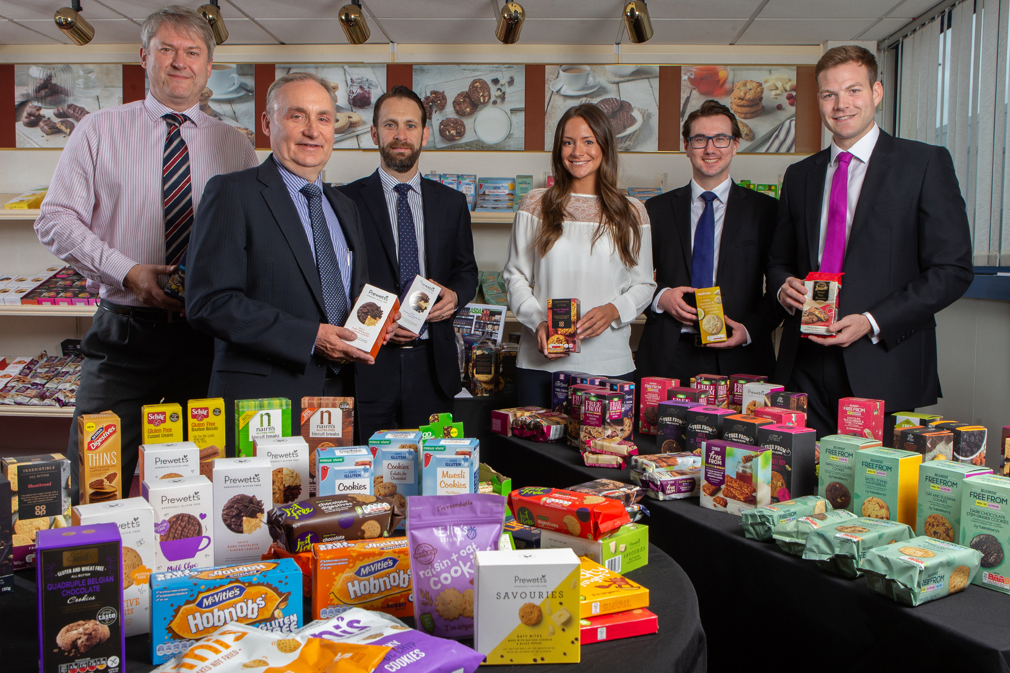 From left: Julian Wood, Financial Director, and Stewart McLelland, Managing Director (Northumbrian Fine Foods) with Philip Clare, Claire Willcock, Harry Hobson and Adam Rayner (Muckle LLP)