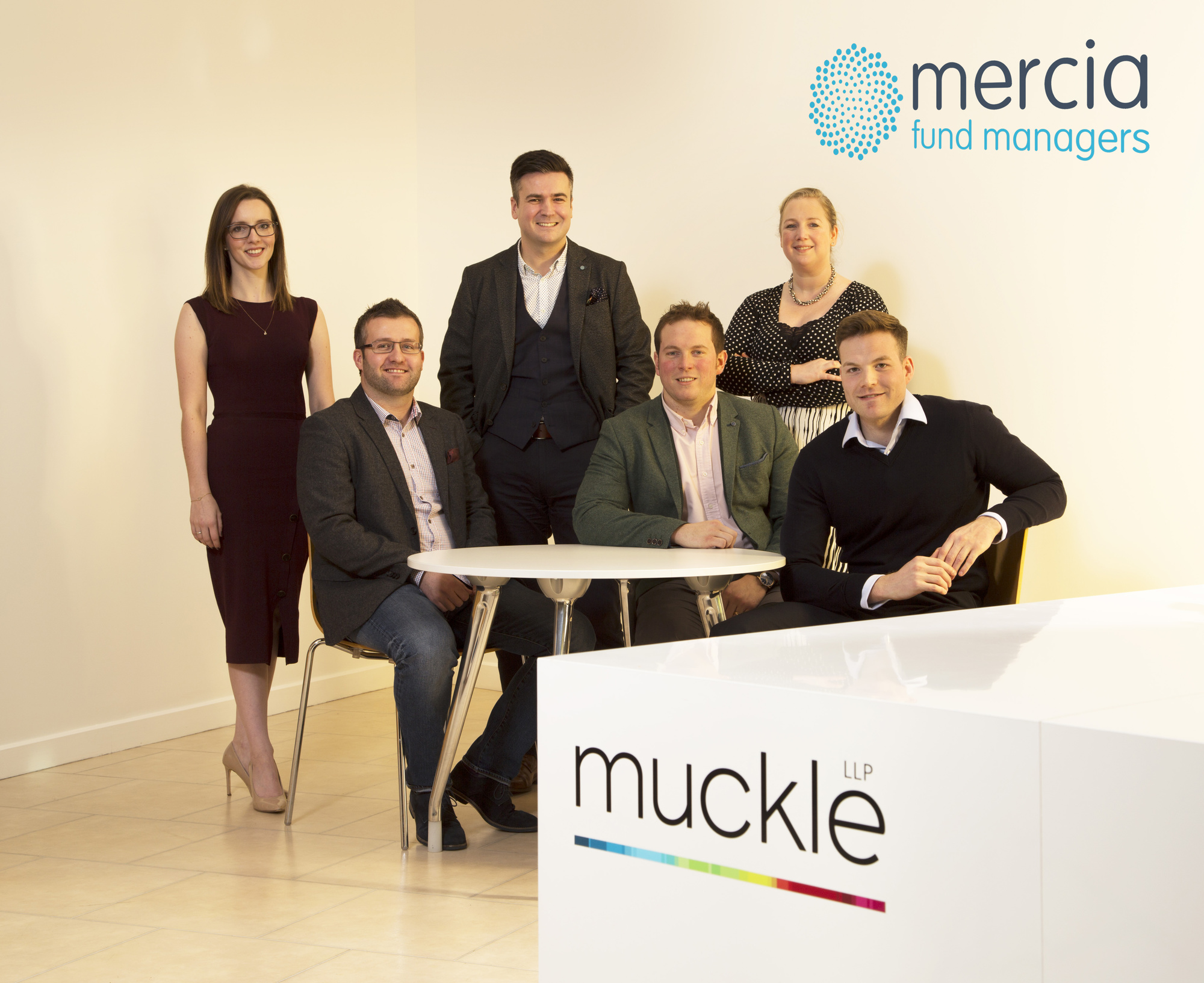 Stephanie Brown (Muckle), James Allsopp, Ian Wilson, Jan Oosthuizen (Mercia), Amy Wanless and Adam Rayner (Muckle)