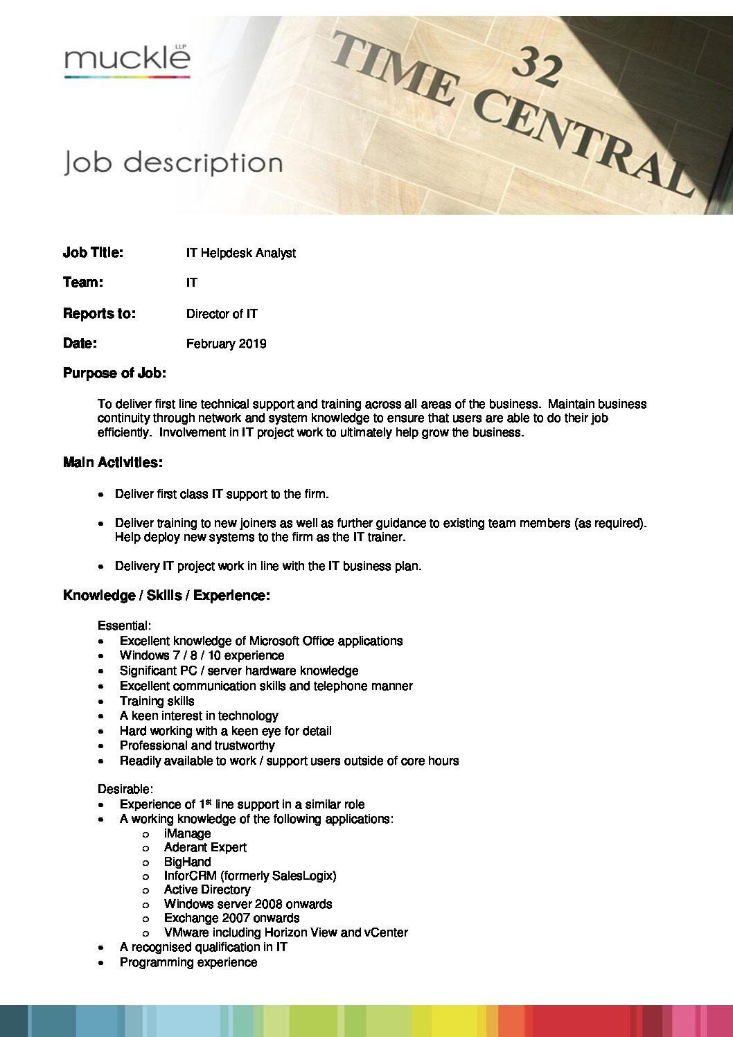 IT Helpdesk Analyst job description - Muckle LLP