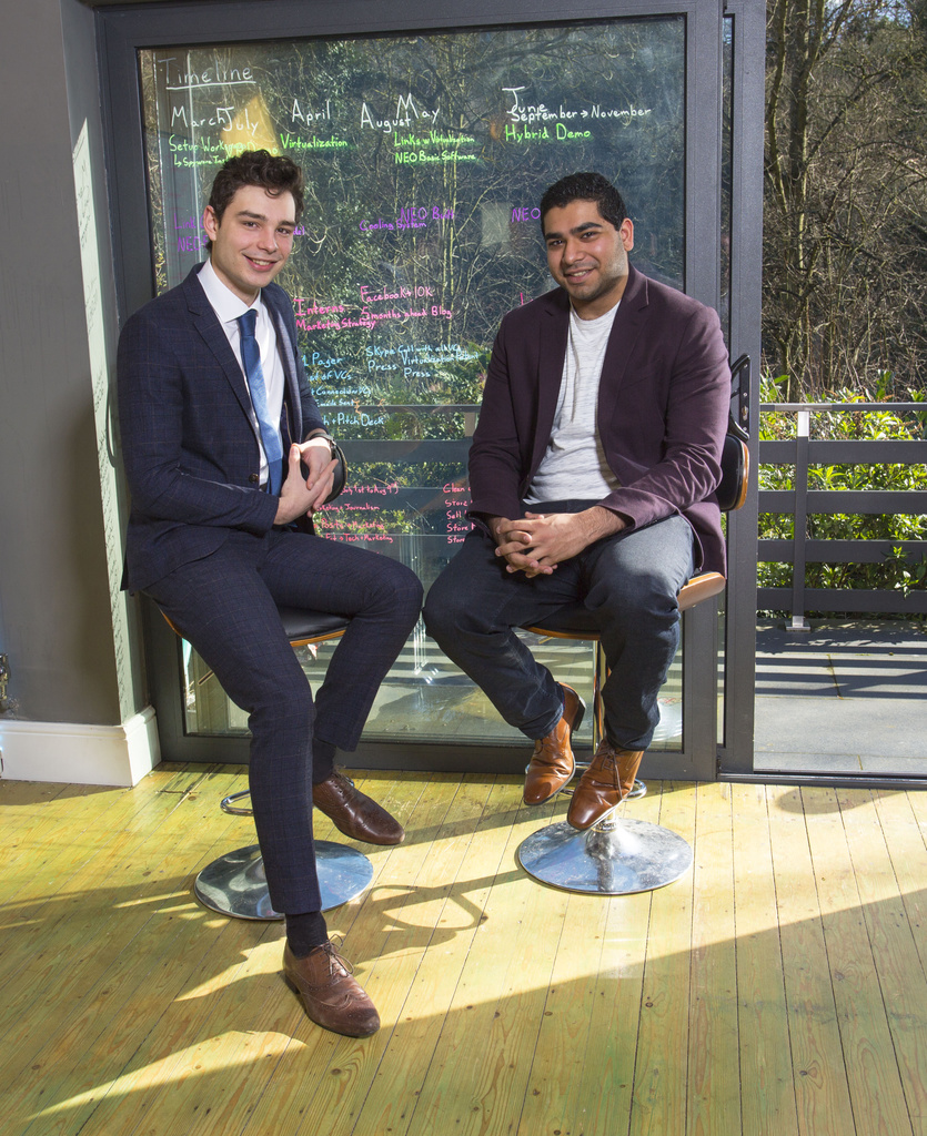 Rhys Birkinshaw, CTO, and Liam Gill, CEO, at Fumarii Technologies HQ