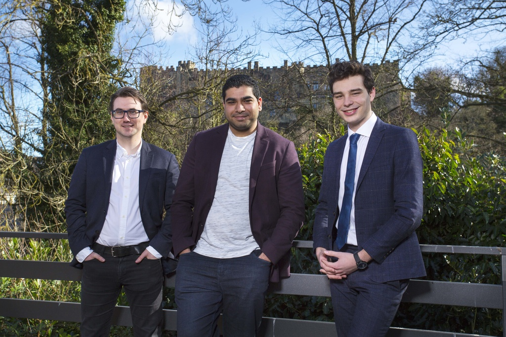 Harry Hobson, solicitor, with Liam Gill, CEO, and Rhys Birkinshaw, CTO, at Fumarii Technologies HQ