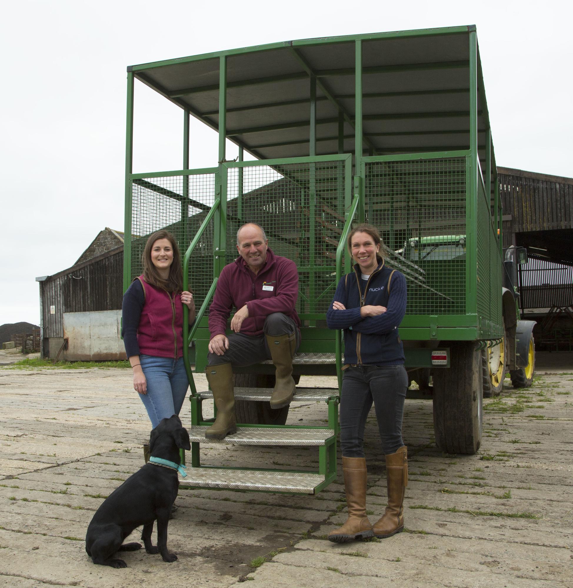 Broxfield Farm school visit: Beth Thomspn, David Thompson (The Country Trust) and Elizabeth Earle